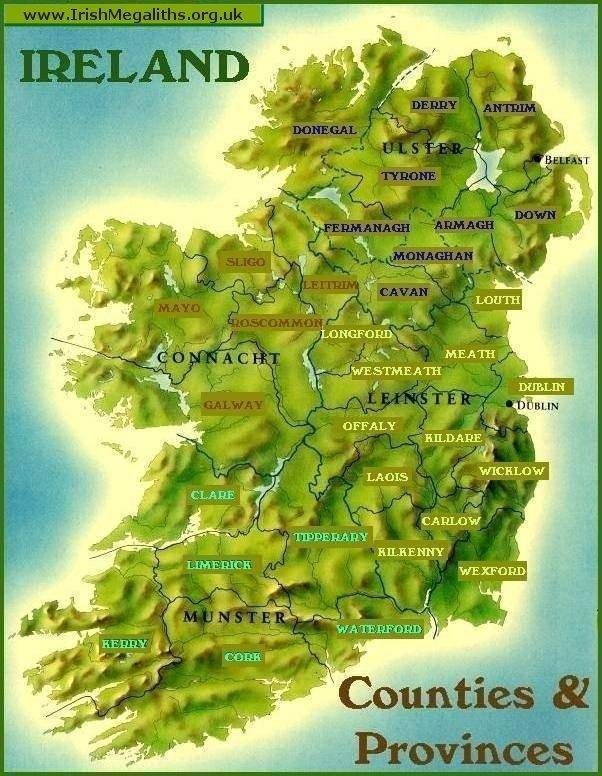 Clickable Map Of Ireland - Ireland provinces map
